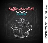 hand draw of tasty cupcake on a ... | Shutterstock .eps vector #700703962
