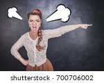 angry screaming woman pointing...   Shutterstock . vector #700706002