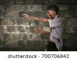 spooky asian zombie man with...   Shutterstock . vector #700706842