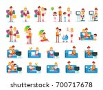 set of familiar people scenes... | Shutterstock .eps vector #700717678