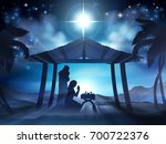christmas nativity scene of... | Shutterstock . vector #700722376