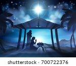 christmas nativity scene of... | Shutterstock . vector #700722376