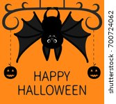 bat hanging. dash line pumpkin... | Shutterstock . vector #700724062