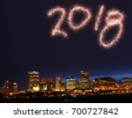 2018 new year firework over the ... | Shutterstock . vector #700727842