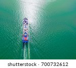 aerial view of cargo ship ... | Shutterstock . vector #700732612