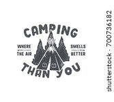 vintage hand drawn camping... | Shutterstock .eps vector #700736182