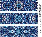 festive tribal ornamental blue... | Shutterstock .eps vector #700740946