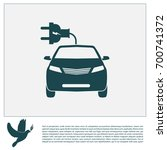 electric car line icon. vector... | Shutterstock .eps vector #700741372
