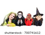 kids with face paint and... | Shutterstock . vector #700741612