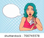 retro crying comics girl with... | Shutterstock .eps vector #700745578