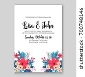 wedding invitation or card with ...   Shutterstock .eps vector #700748146