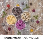 different ice cream rolls ... | Shutterstock . vector #700749268