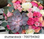 floral arrangement of succulent ... | Shutterstock . vector #700754362