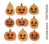 cute vector set with halloween... | Shutterstock .eps vector #700756546