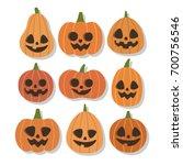 halloween pumpkins set. smiling ... | Shutterstock .eps vector #700756546