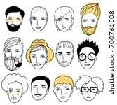 cute faces of people. doodle... | Shutterstock .eps vector #700761508