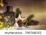 stylish rustic christmas... | Shutterstock . vector #700768252