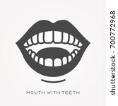 silhouette icon mouth with teeth | Shutterstock .eps vector #700772968
