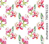 seamless painted pink lilies.... | Shutterstock . vector #700781122