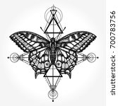 butterfly tattoo  geometrical... | Shutterstock .eps vector #700783756