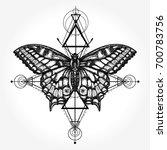 butterfly tattoo  geometrical... | Shutterstock .eps vector #700783756
