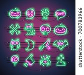 set of halloween neon signs... | Shutterstock .eps vector #700783966