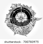 whale and compass tattoo and t... | Shutterstock .eps vector #700783975