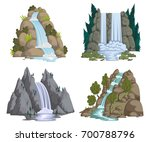 waterfalls set. cartoon... | Shutterstock .eps vector #700788796