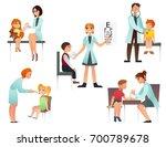 kids visit a doctor cartoon... | Shutterstock .eps vector #700789678
