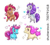 little cute vector pony set.... | Shutterstock .eps vector #700791418