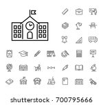 thin line school icon black on... | Shutterstock .eps vector #700795666