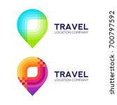 abstract logo design travel... | Shutterstock .eps vector #700797592