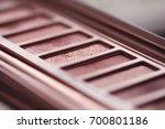 eye shadow palette in rose gold ...   Shutterstock . vector #700801186