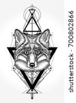 fox tattoo and t shirt design.... | Shutterstock .eps vector #700802866