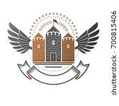 ancient citadel emblem.... | Shutterstock . vector #700815406