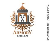 ancient fort emblem. heraldic...   Shutterstock . vector #700815442