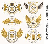 collection of heraldic... | Shutterstock . vector #700815502