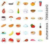 crockery icons set. cartoon... | Shutterstock .eps vector #700816642