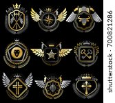 heraldic emblems with wings... | Shutterstock . vector #700821286