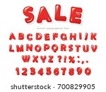 red glossy letters and numbers... | Shutterstock .eps vector #700829905