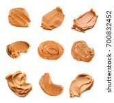 collage of peanut butter on... | Shutterstock . vector #700832452