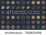 set of sunburst raster rays of... | Shutterstock . vector #700832698