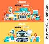 flat concept web banner of e... | Shutterstock .eps vector #700844686