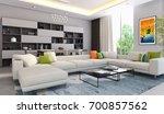 modern bright interiors. 3d... | Shutterstock . vector #700857562