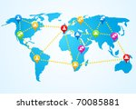 social connection map with pin... | Shutterstock .eps vector #70085881