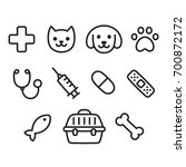 Stock vector cute vet icon set hand drawn line icons of pets toys and veterinary equipment 700872172