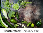 green veggies group. vegetarian ... | Shutterstock . vector #700872442