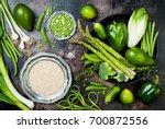 green veggies group. vegetarian ... | Shutterstock . vector #700872556