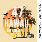hawaii typography for t shirt... | Shutterstock .eps vector #700878436