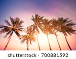 sunset at tropics with palm... | Shutterstock . vector #700881592